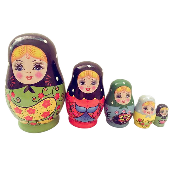 Cute Young Girls Matryoshka Nesting Dolls 5 Pieces