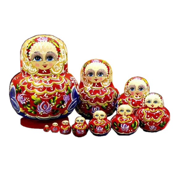 Red Russian Matryoshka Nesting Dolls 10 Pieces