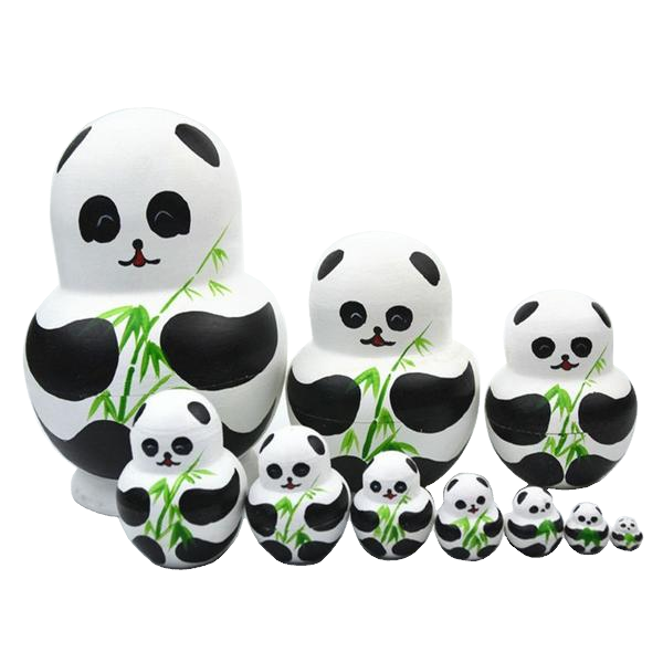 Charming Panda Matryoshka Nesting Dolls 10 Pieces