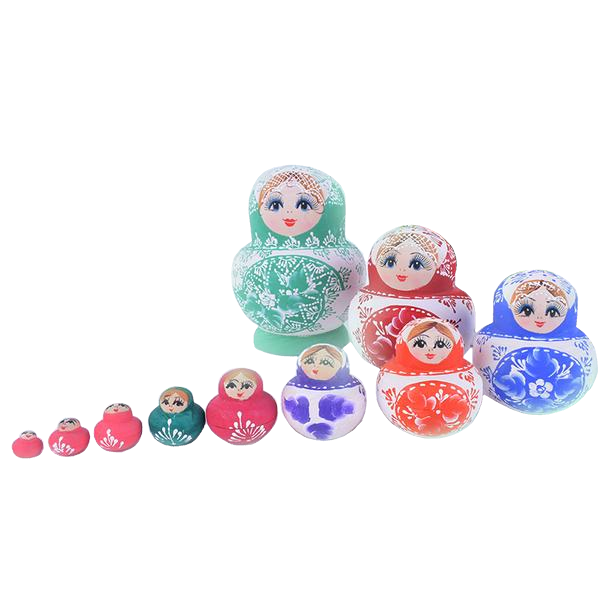 Multi Colored Authentic Matryoshka Nesting Dolls 10 Pieces