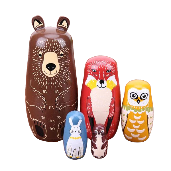 Animal Collection Matryoshka Nesting Dolls 5 Pieces