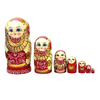 Wooden Red and Gold Russian Matryoshka Nesting Dolls 7 Pieces