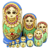 Colorful Yellow Wooden Matryoshka Nesting Dolls 10 Pieces