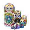 Multi Colored Yellow Matryoshka Nesting Dolls 7 Pieces