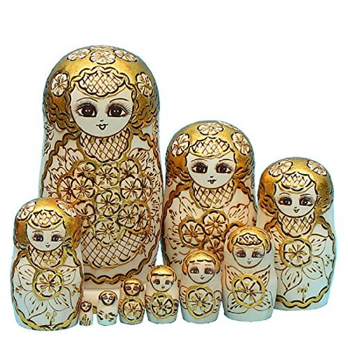 Gold Wooden Matryoshka Nesting Dolls 10 Pieces