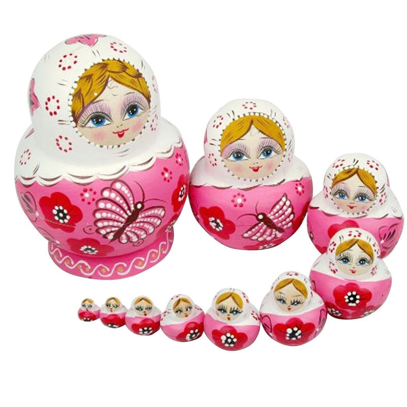 Pink Butterfly Matryoshka Doll 10 Pieces