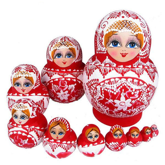 Red Wooden Babushka Dolls 10 Pieces