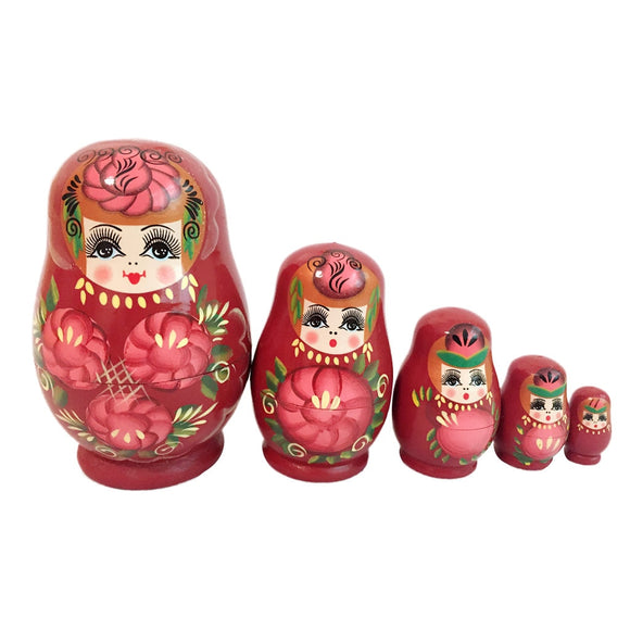 Red Wooden Matryoshka Nesting Dolls 5 Pieces