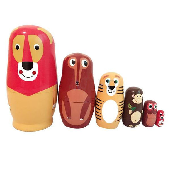 Charming Animals Matryoshka Nesting Dolls 6 Pieces