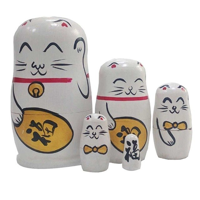 White Fortune Cat Matryoshka Nesting Dolls 5 Pieces