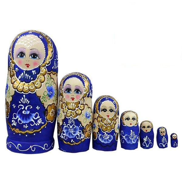 Wooden Blue and Gold Russian Matryoshka Nesting Dolls 7 Pieces