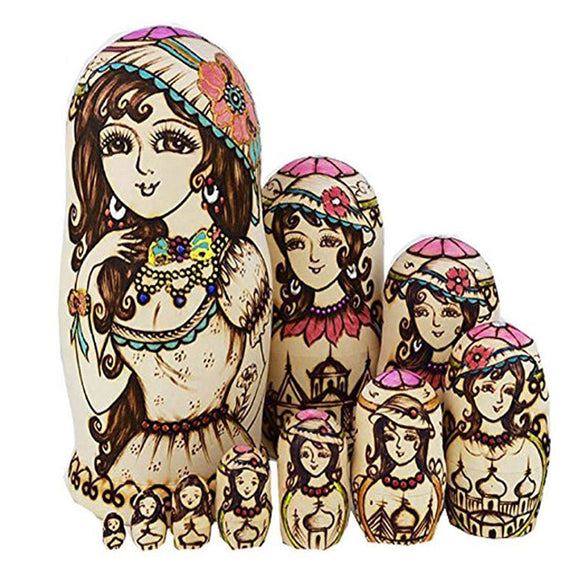 Beautiful Woman Matryoshka Nesting Dolls 10 Pieces