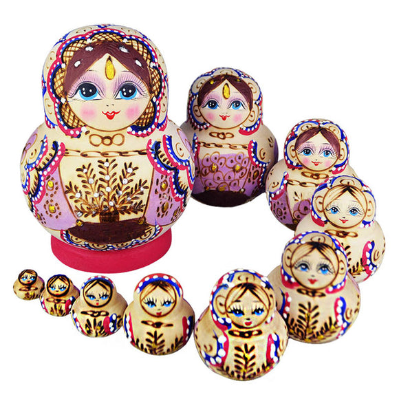 Painted Wooden Matryoshka Dolls 10 Pieces