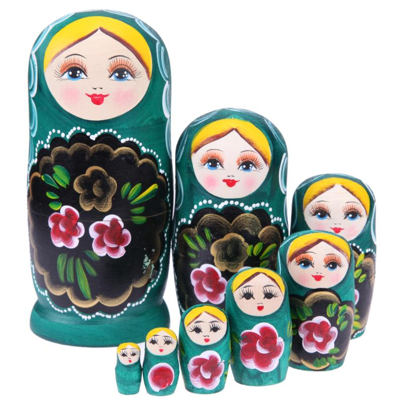 Green Floral  Matryoshka Nesting Dolls 8 Pieces