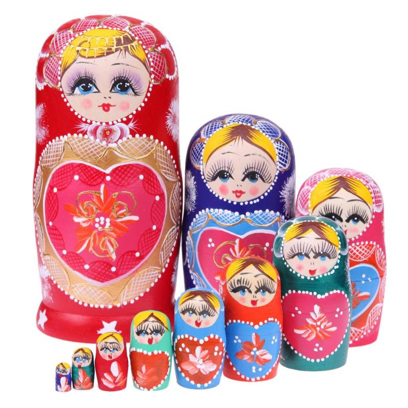 Wooden Christmas Matryoshka Nesting Dolls 10 Pieces