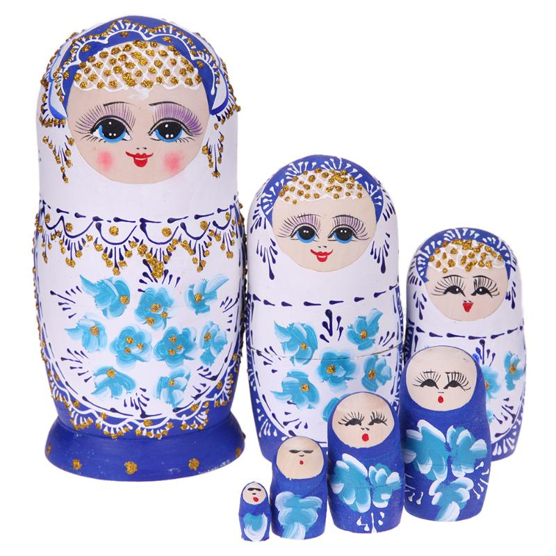 White Wooden Matryoshka Nesting Dolls 7 Pieces