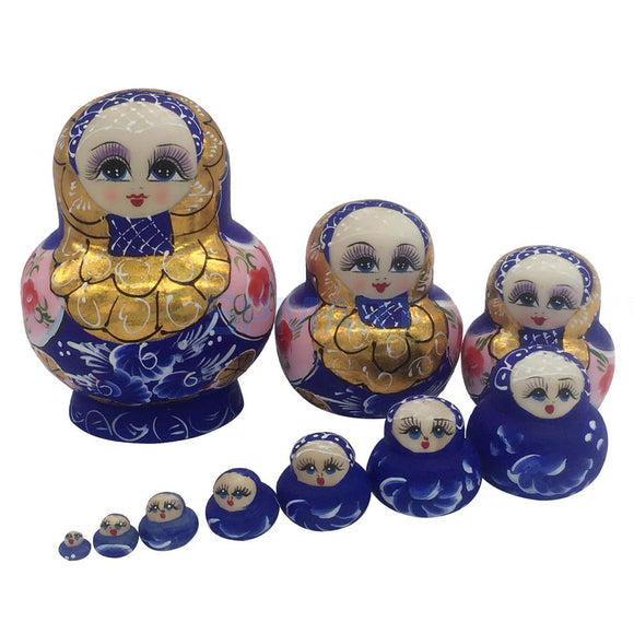 Hand-painted Blue Wooden Matryoshka Nesting Dolls 10 Pieces
