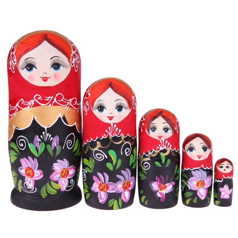 Black and Red Matryoshka Nesting Dolls 5 Pieces