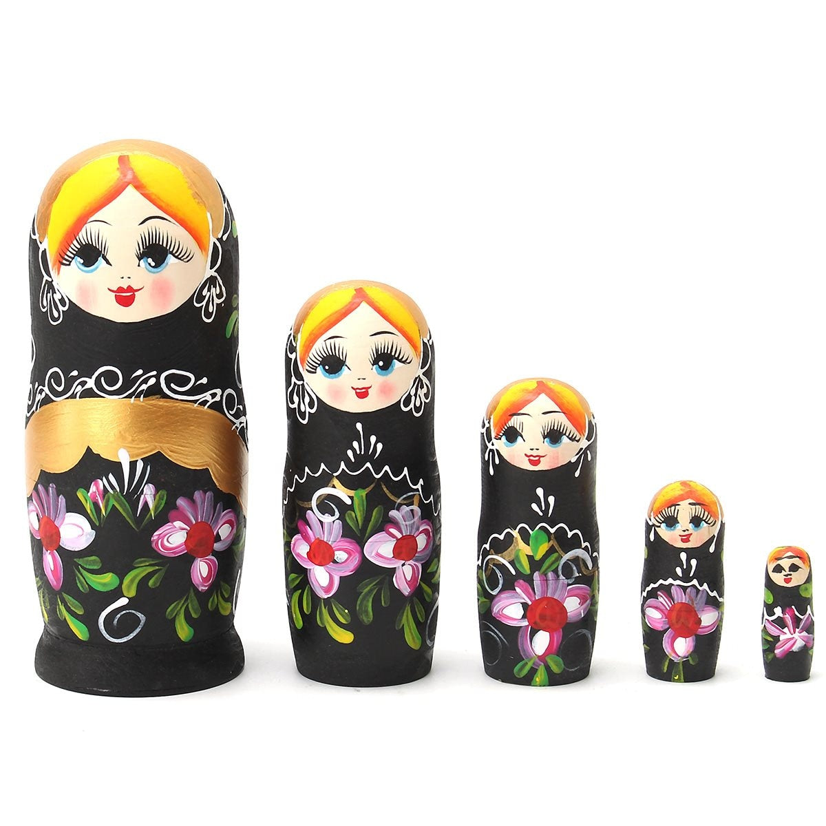 Wooden Black Matryoshka Nesting Dolls 5 Pieces