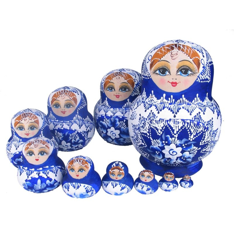 White and Blue Wooden Matryoshka Nesting Dolls 10 Pieces