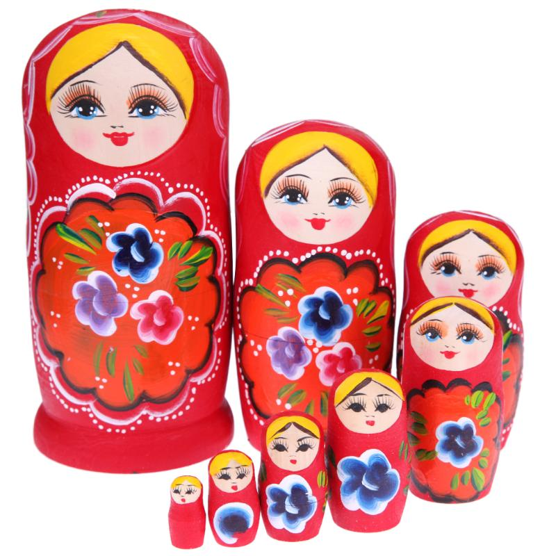 Red Wooden Matryoshka Nesting Dolls 8 Pieces