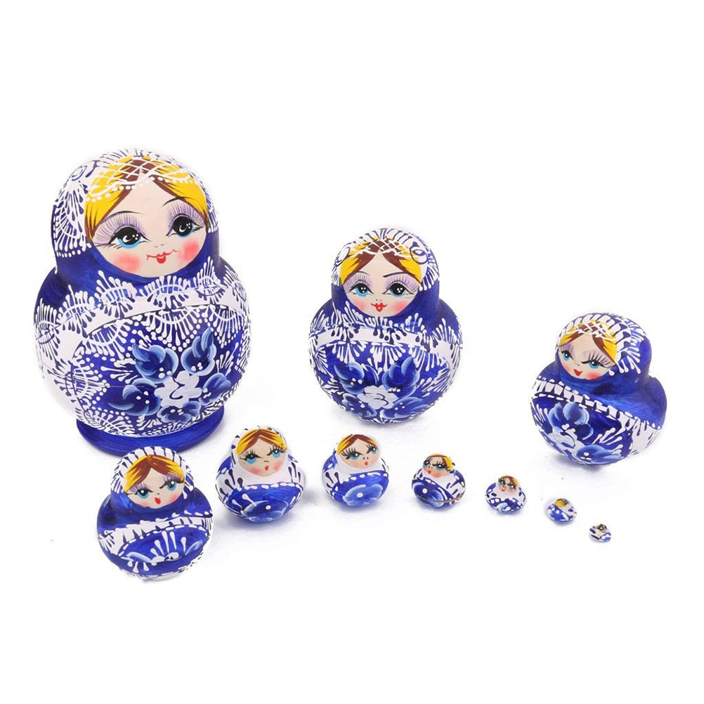 Small Wooden Matryoshka Nesting Dolls 10 Pieces