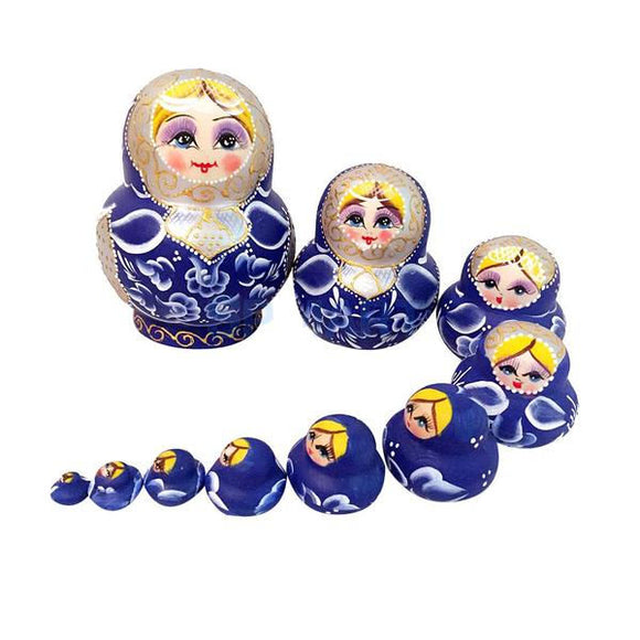 Blue Small Matryoshka Nesting Dolls 10 Pieces