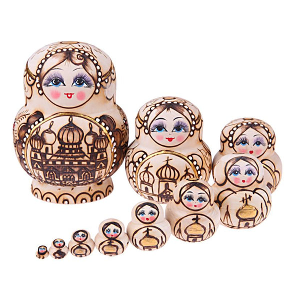 Handmade Wooden Matryoshka Nesting Dolls 10 Pieces