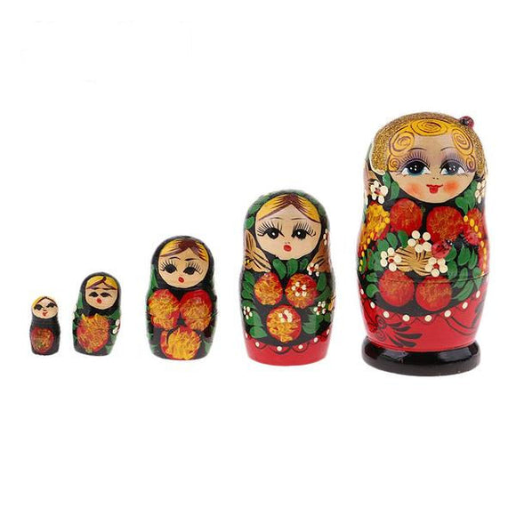Patterned Matryoshka Nesting Dolls 5 Pieces