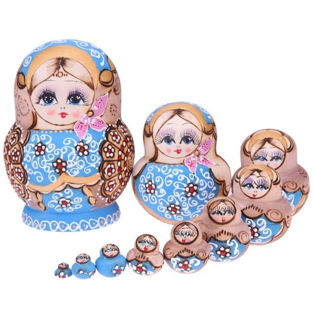 Blue Wooden Matryoshka Dolls 10 Pieces