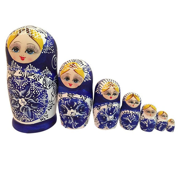 Handmade Wooden Matryoshka Nesting Dolls 7 Pieces