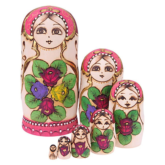 Colourful Rose Matryoshka Nesting Dolls 7 Pieces