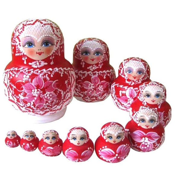 Red Floral Matryoshka Nesting Dolls 10 Pieces