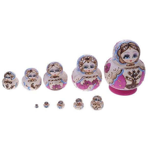 Patterned Matryoshka Nesting Dolls 10 Pieces