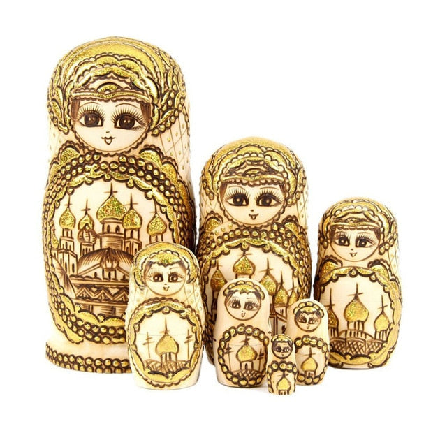 Gold Basswood Authentic Matryoshka Nesting Dolls 7 Pieces