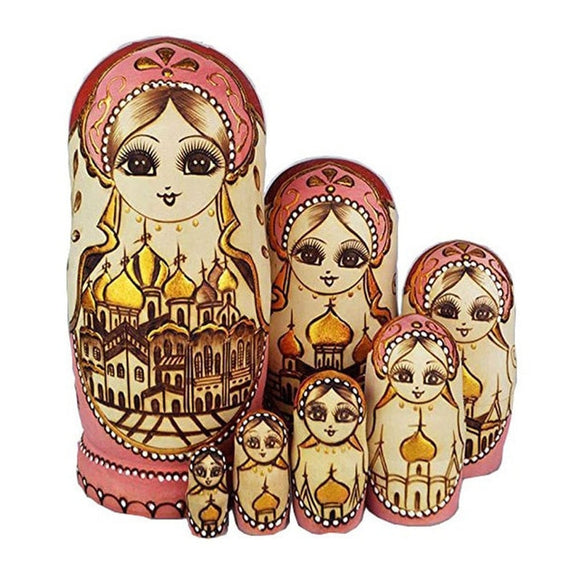 Authentic Basswood Princess Matryoshka Nesting Dolls 7 Pieces