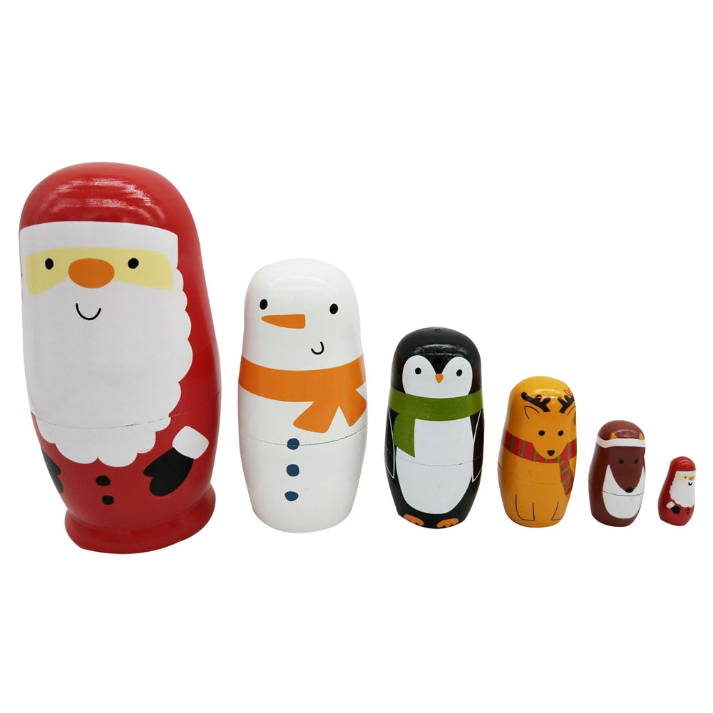 Christmas Figures Matryoshka Nesting Dolls 6 Pieces
