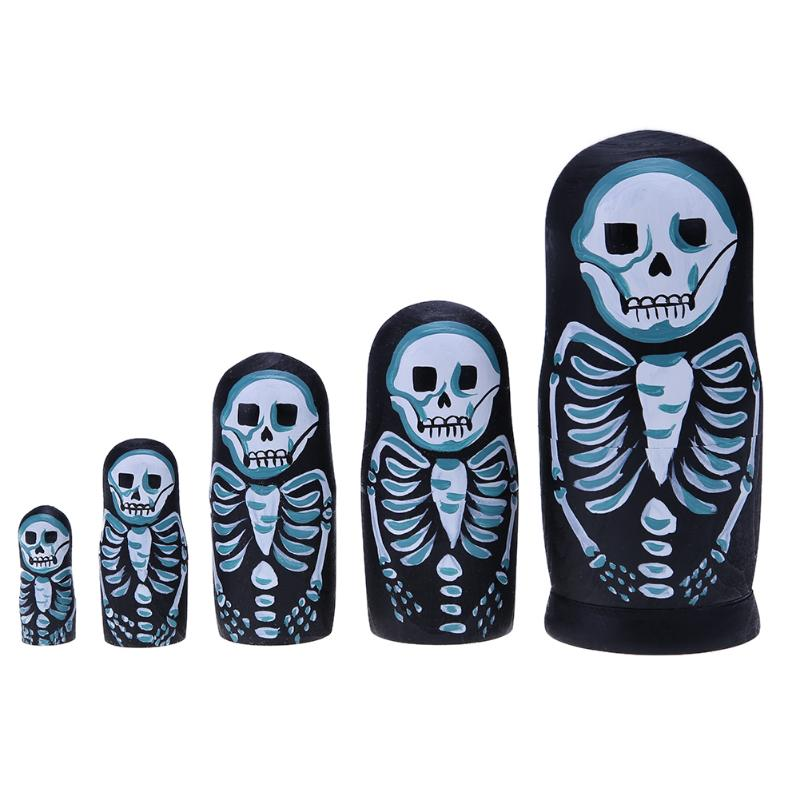 Spooky Skeleton Matryoshka Nesting Dolls 5 Pieces