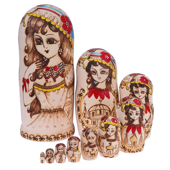Lovely Lady Matryoshka Nesting Dolls 10 Pieces