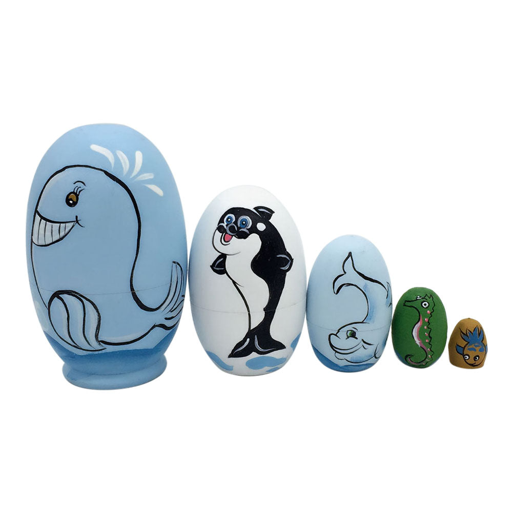Lovable Aquatic Animals Matryoshka Nesting Dolls 5 Pieces