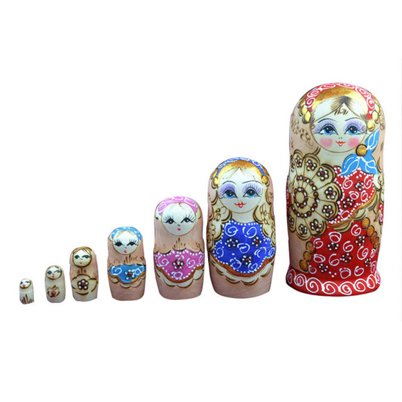 Large Red Matryoshka Nesting Dolls 7 Pieces