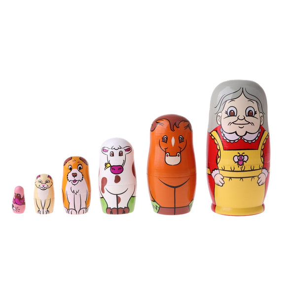 Granny and Pets Matryoshka Nesting Dolls 6 Pieces