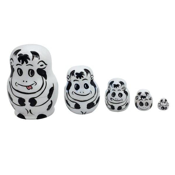 Cute Cow Matryoshka Nesting Dolls 5 Pieces