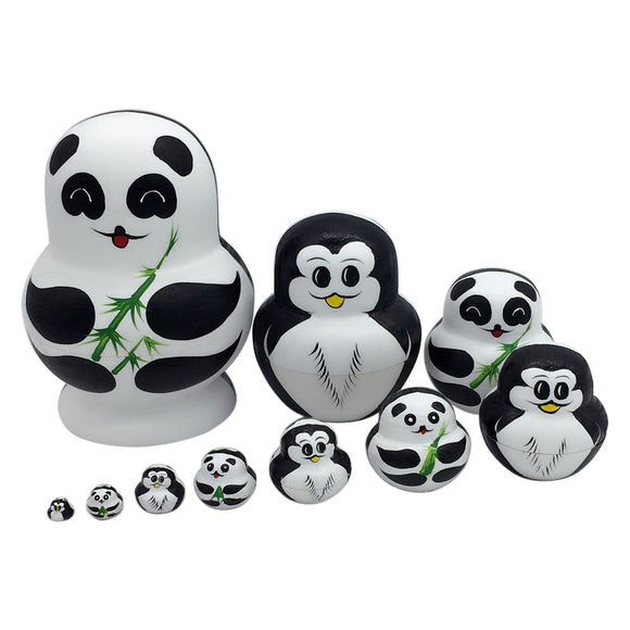 Pandas and Penguins Matryoshka Nesting Dolls 10 Pieces