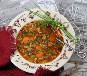 Soup seasoning mix, Cowgirls Cookin', beef barley soup recipe, Ric Gendron native artist, instant pot soup, soup freezes well