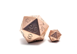 Copper 45mm Solid Core D20 Dice