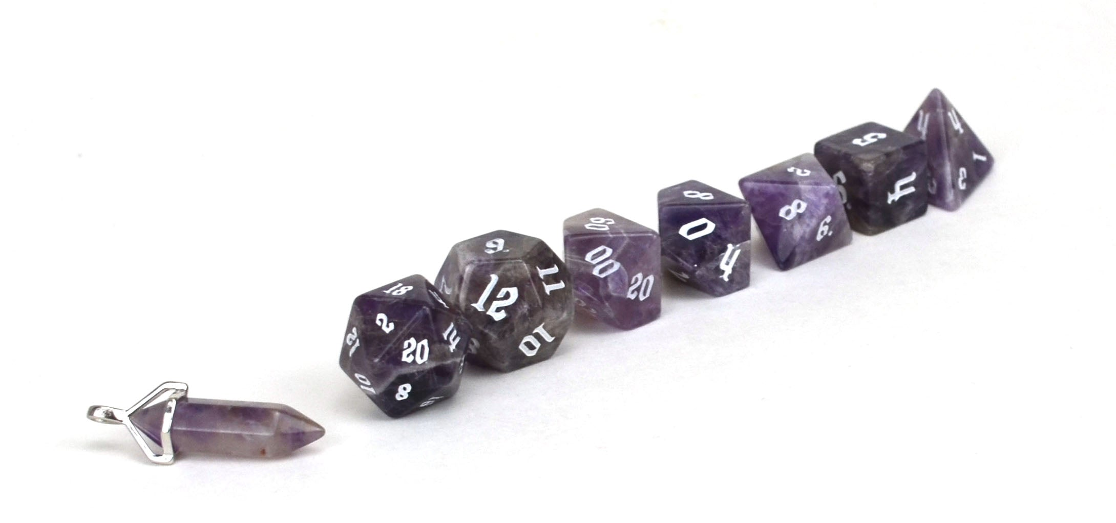 Amethyst Semi Precious Stone Dice Set of 7