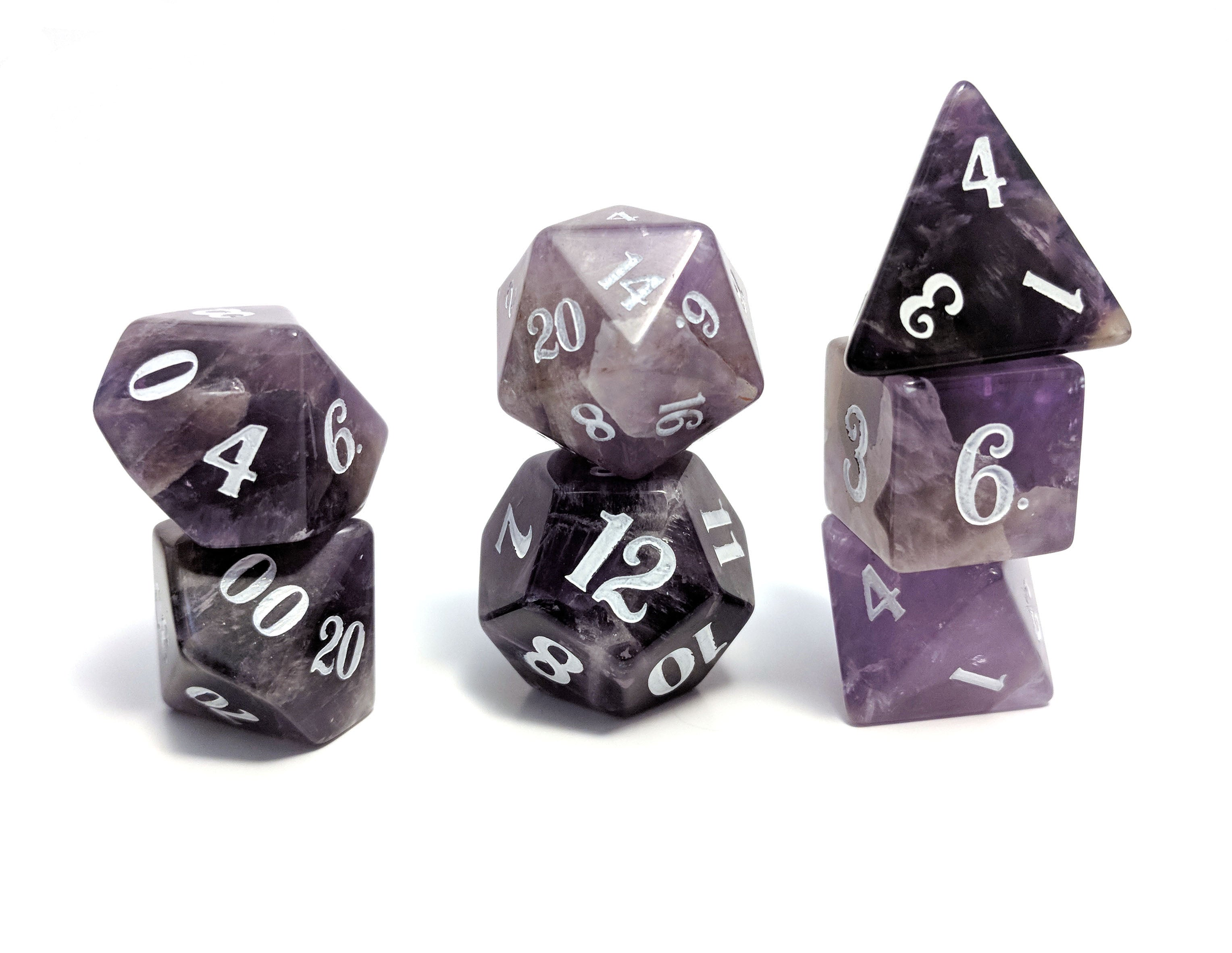 Amethyst Hand Carved Semi-Precious Stone Dice Set
