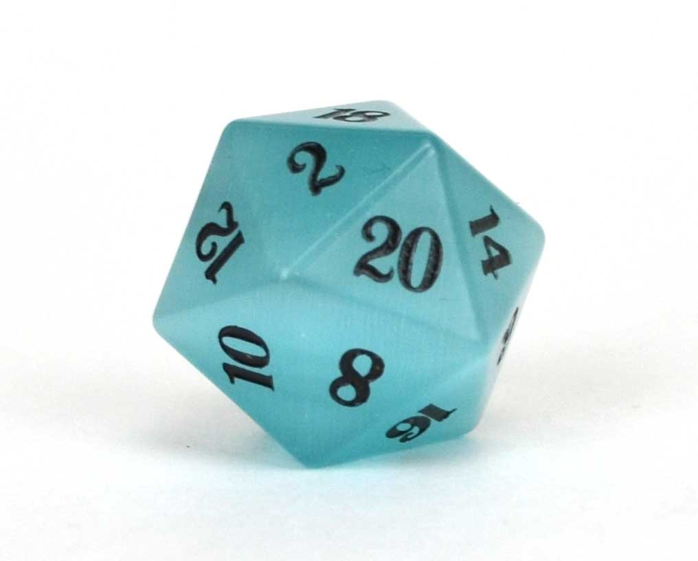 Aqua Cat's Eye D20 Semi Precious Stone Dice