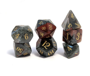 Bloodstone Hand Carved Semi-Precious Stone Dice Set
